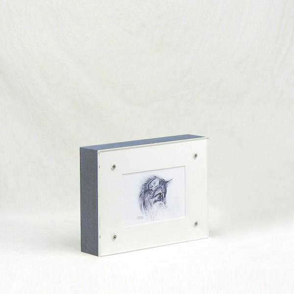 Bilderrahmenurne aus Holz (blau) für Tiere