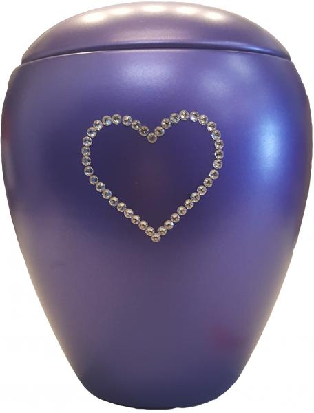 Keramikurne Kristall Herz (lila)