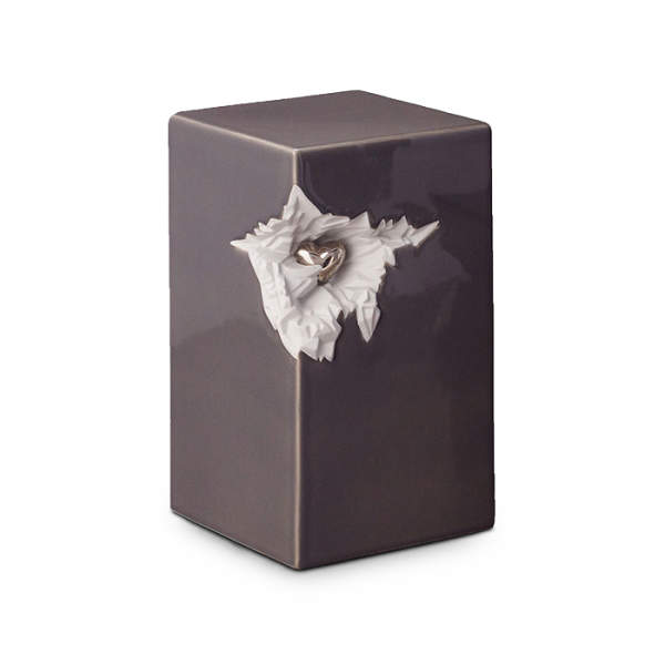 Keramikurne grau mit silber