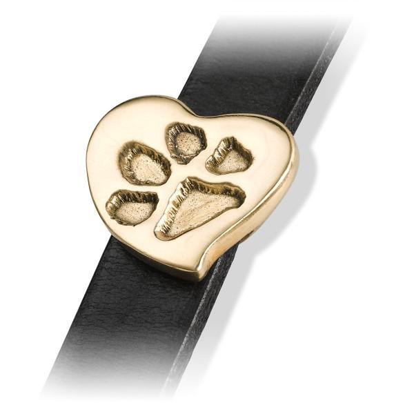 Wickellederarmband Pfötchenabdruck-Herz in Bronze